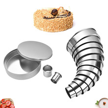 Round Stainless Steel 14-piece Set Mousse Ring Baking Cake Mould Set 14-piece Set Stainless Steel Biscuit Mould gooi stainless steel ts 10 11 15 straight and angled tweezerses 3 piece set