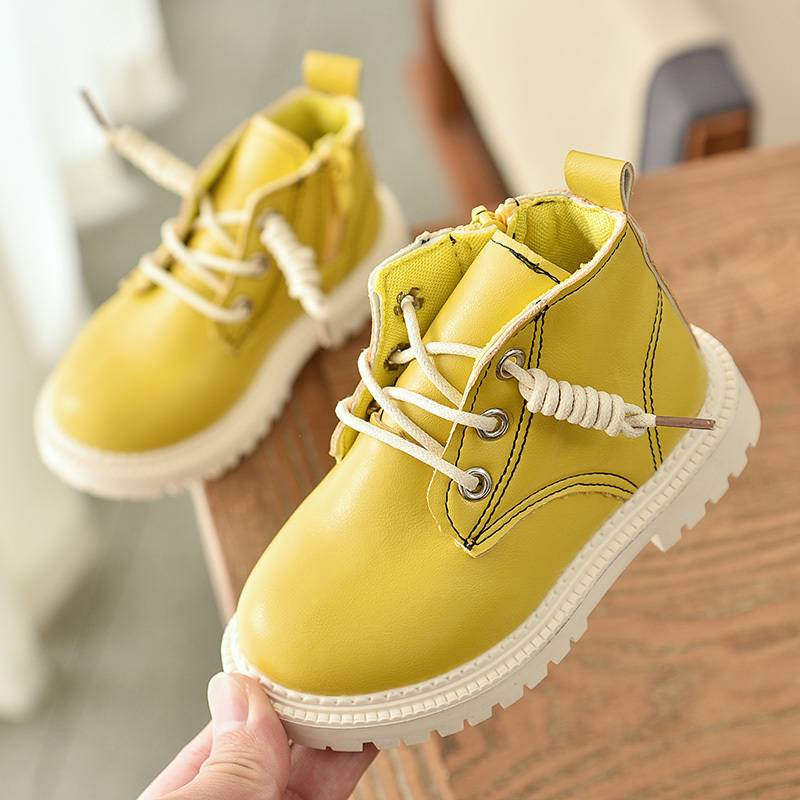 Winter Fashion PU Leather Black White Yellow Kids Toddler Girl Boy Snow Warm Non-slip Boots Shoes