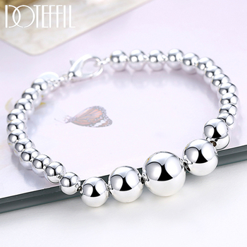 DOTEFFIL 925 Sterling Silver Vary Size Full Smooth Bead Bracelet 20cm For Women Girl Wedding Engagement Jewelry