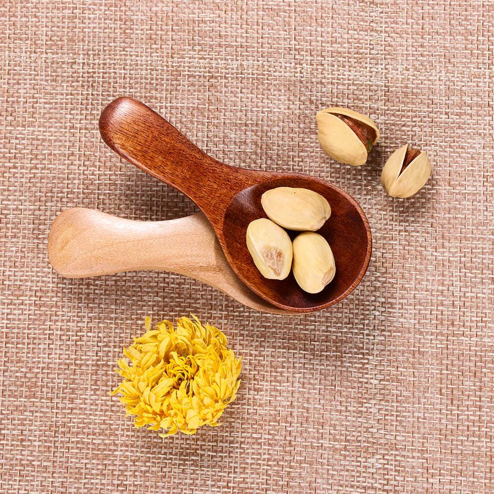 1PC 작은 미니 설탕 소금 천연 나무 숟가락 커피 차 조미료 Flatware 특종 주방 가제 홈 생활 요리 도구