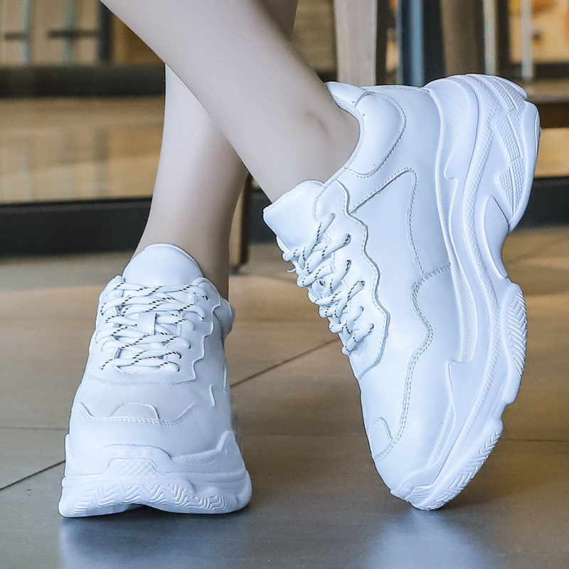 Flat Platform Chunky Sneakers Women Shoes Woman Leather Casual Shoes Plus Size Solid White Vulcanized Shoes Lace Up Ladies Shoes