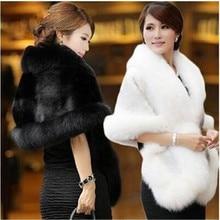 Sin mangas de piel sintética abrigo de invierno boda chal Bolero capa nupcial chal capa de piel