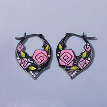925-Silver Needle Jewelry Flower Enamel Earrings Handmade Retro New Gift Temperament
