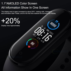 Image 4 - Xiaomi Mi Band 5 Smart Bracelet 4 Color AMOLED Screen Heart Rate Fitness Bluetooth Sports Waterproof Wristband Mi Band 4 5 Watch