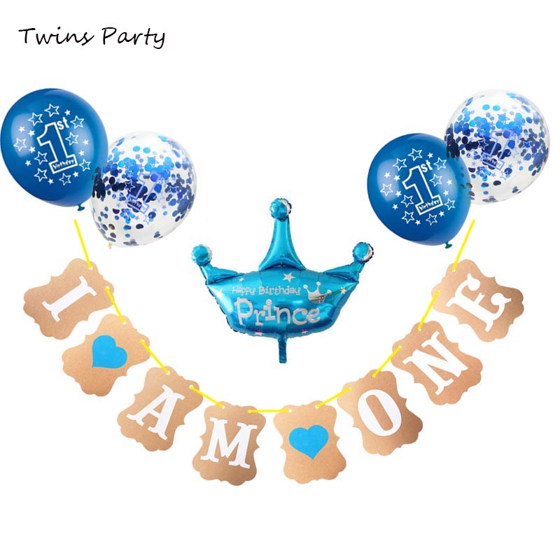 Twins Party Baby Shower 1st Birthday Decoration I Am One Year Banner Kid s Birthday Party First Baby Boy Girl Party Decorations in Ballons Accessories from Home Garden