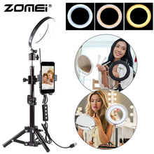 ZoMei лунный 6 дюймовый Диммируемый светодиодный кольцевой светильник с регулируемой стойка для селфи штатив с держателем для телефона для макияжа видеосъемки светильник