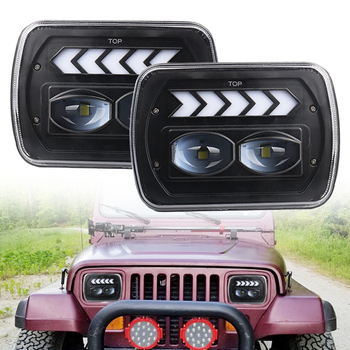 2 pcs 40W Square 5X7 7X6 inch Rectangular Sealed Beam LED Headlight With DRL for  For Jeep Wrangler Yj Cherokee Xj