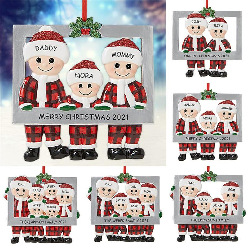 2-6 People Family Christmas Tree Decoration Pendant Party Decoration Reindeer Christmas Photo Frame Does not support chang name