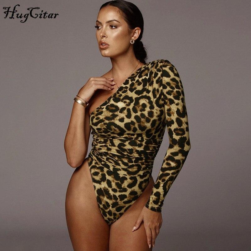 Hugcitar 2019 Leopard One-shoulder Long Sleeve Sexy Bodycon Bodysuit Autumn Winter Women Streetwear Outfits Club Body