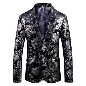 Image 2 - Mens fashion Dance Blazer Coats 2019 Male pattern Business affairs Wedding Stage Long sleeve Suit Jackets Slim Coat 4XL 5XL