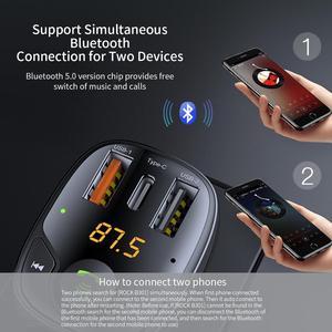 Image 2 - ROCK Drei USB Auto Ladegerät B301 Bluetooth 5,0 FM Transmitter Digital 3,4 EINE Intelligente Verteilung Aktuelle Schnelle Schnell Lade