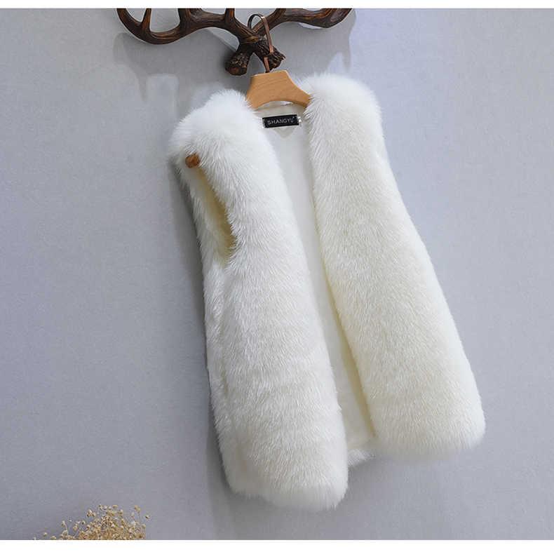 Chaleco de piel sintética peluda para mujer 2019 Chaleco de piel gruesa de invierno sin mangas cuello en V Imitación Piel de zorro Gilet Femme XL732