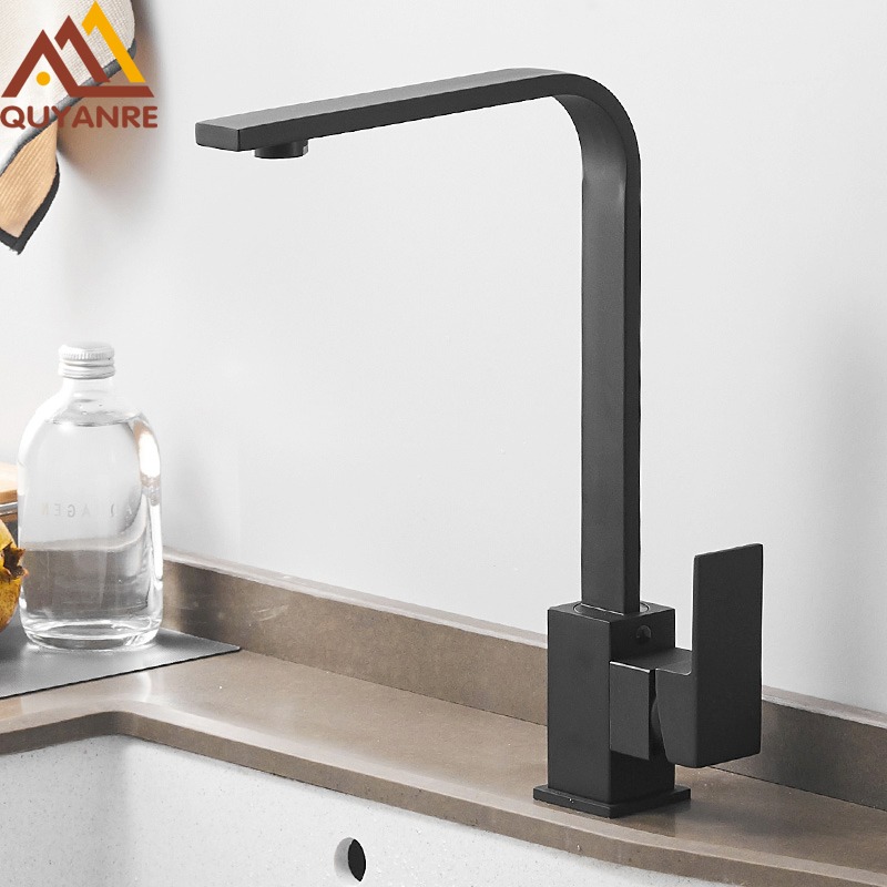 Quyanre Black Square Brass Kitchen Faucet Single Lever H/C 360 Rotation Mixer Tap Basin Water Crane Tap For Kitchen Bathroom Tap