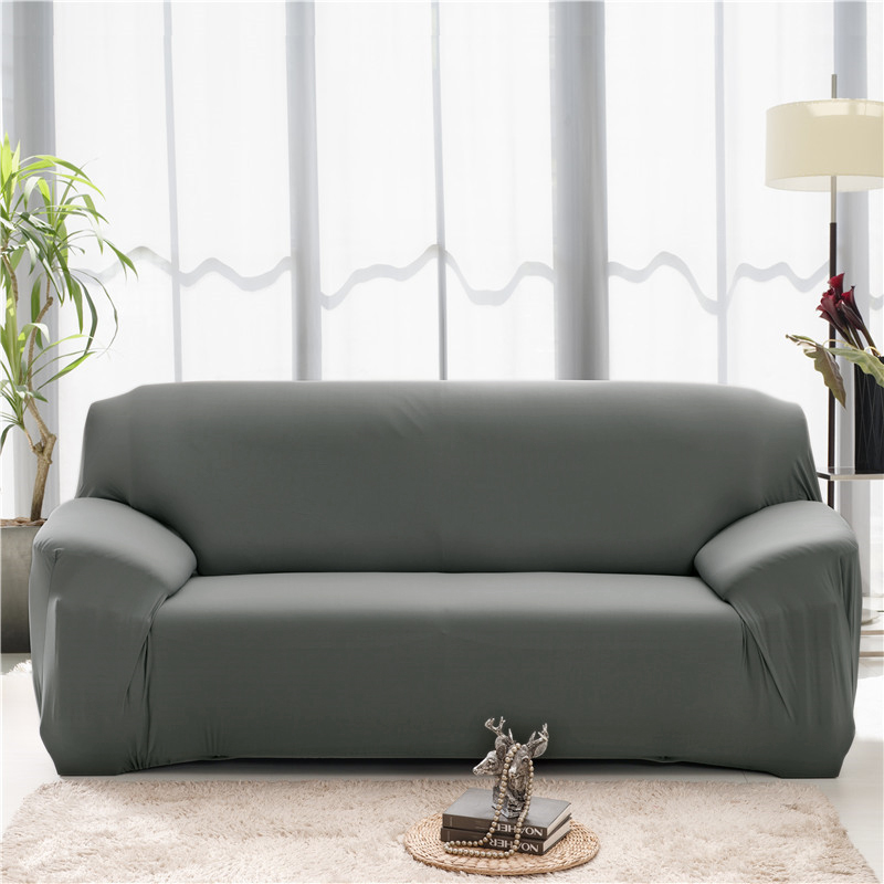 Solid Color Elastic Couch Cover made of Stretchable Material for Singe to 4 Seated Sofa in Living Room 20