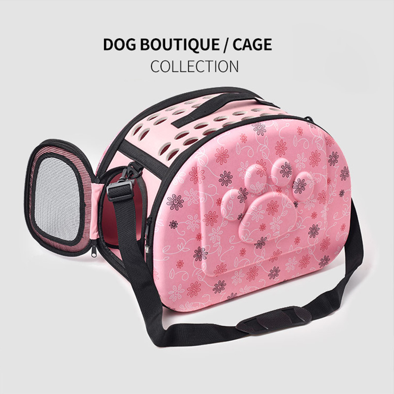 Cat Pattern Blue Dog Carrier Bag Portable Cats Handbag Foldable Travel Bag Puppy Carrying Shoulder Pet Bags