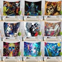 Hippie Punk crâne peinture motif tapisserie Polyester tenture murale Gobelin plage pique-nique Yoga tapis décor à la maison artisanat