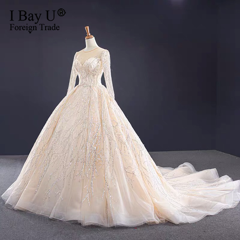 Champagne Sequin Beading O-Neck Wedding Dresses 2020 Long Sleeves Lace Up Long Train Bridal Gowns  Cusotm Made