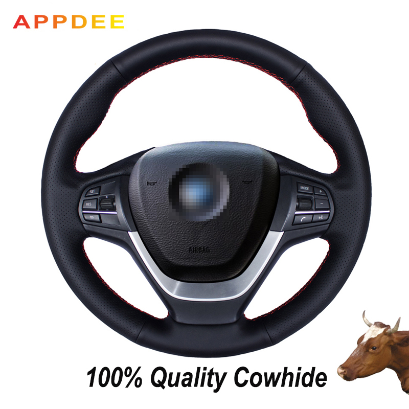 Hand-stitched Black Genuine  Leather Steering Wheel Cover for BMW F25 X3 2011-2015 F26 X4 2014-2016