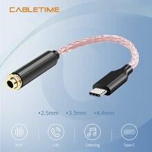 Медный Hi Fi кабель для обновления кабеля, USB Type C 3,5 мм усилитель для наушников, аудиоадаптер DAC для Huawei P20 OnePlus Samsung N309