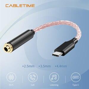 Image 1 - Медный Hi Fi кабель для обновления кабеля, USB Type C 3,5 мм усилитель для наушников, аудиоадаптер DAC для Huawei P20 OnePlus Samsung N309