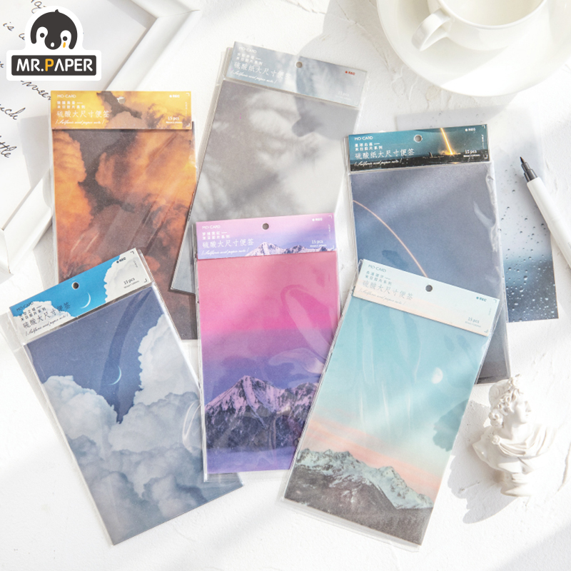 Mr.Paper 30pcs/lot Fantasy Sky Scenery Cloud Big Litmus Paper Memo Pads Loose Leaf Ivory White Card Write Notes Down Memo Pads