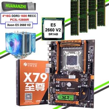 Игровая материнская плата HUANANZHI X79 Deluxe с высокой скоростью M.2 NVMe SSD слот ЦП Xeon E5 2660 V2 большой бренд RAM 64 Гб (4*16 Гб) REG ECC