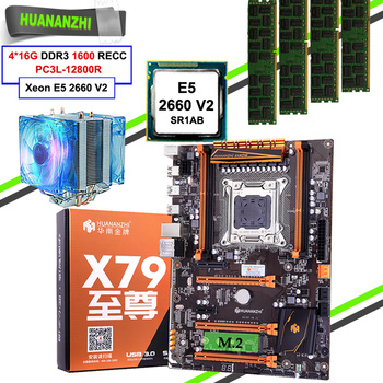 Brand HUANANZHI motherboard with M.2 NVMe slot discount X79 LGA2011 motherboard with CPU Xeon E5 2660 V2 RAM 64G(4*16G) REG ECC