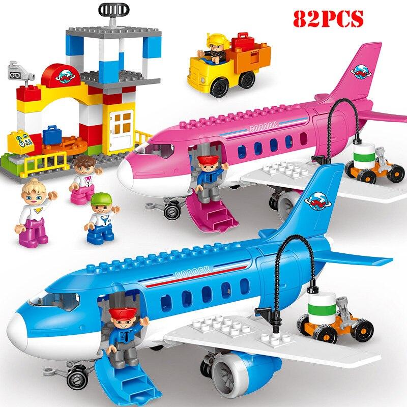 82+pcs Huge Particles Air Passenger Plane Early Education Building Blocks Compatible Legoed City Duplo Big Size Bricks Child Toy