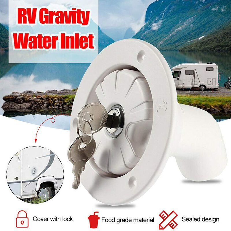 1PCS Fresh Caravan Hatch Gravity Water Inlet Lockable RV Inlet Boat Fuel Port Plastic Trailer Fuel Tank Filter Fitting