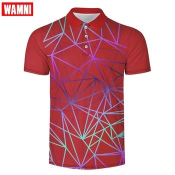 WAMNI 3D tenis T Shirt kamuflaż Casual Sport paski skręcić w dół kołnierz mężczyzna Badminton koszula szybkoschnąca tanie i dobre opinie Krótki Poliester Pasuje większy niż zwykle proszę sprawdzić ten sklep jest dobór informacji Oddychające Sport Casual