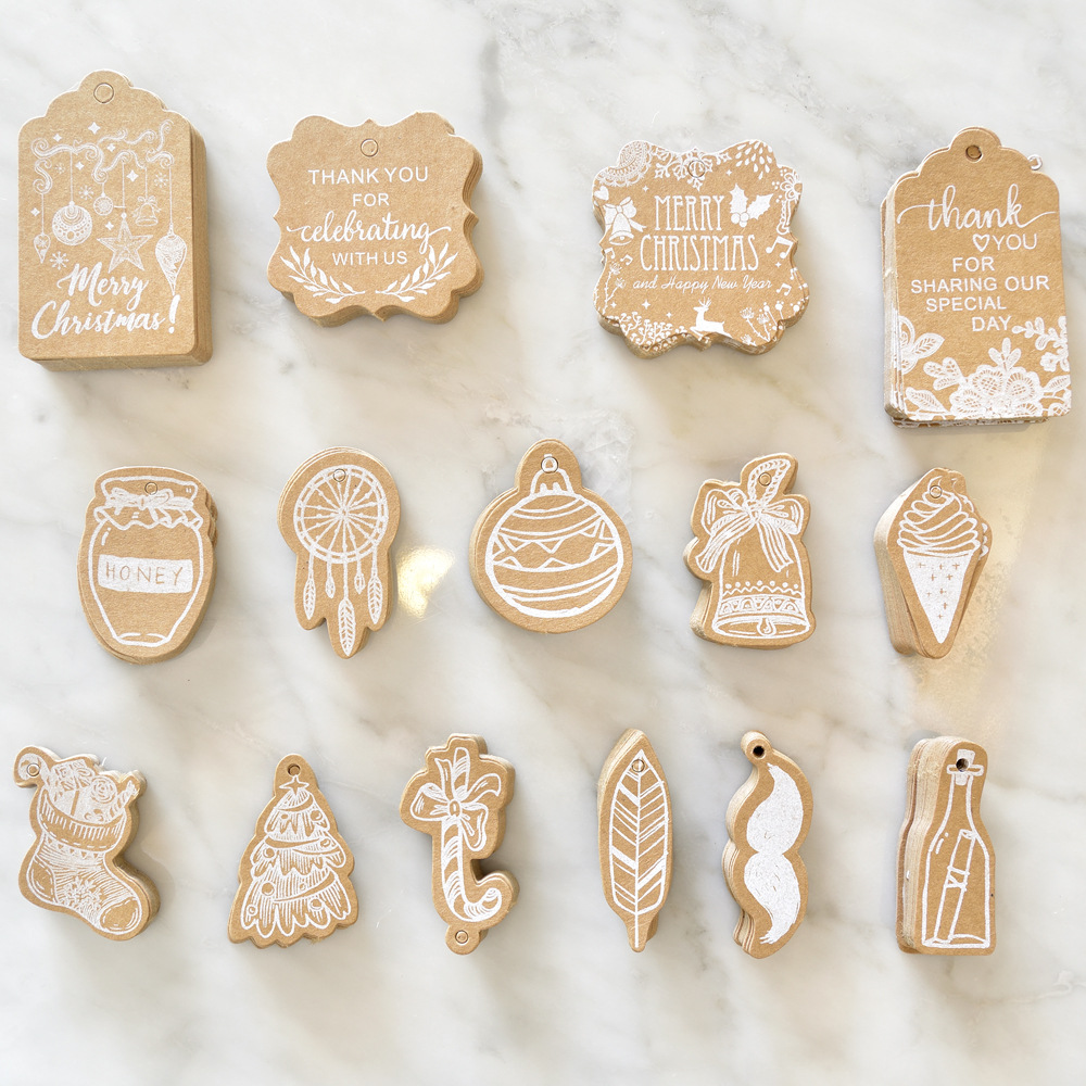 50pcs Kraft Paper Christmas Tags Gift Shop Hang Tag DIY Craft Wishing Card For Xmas Party Wedding Gift Cake Box Wrapping Labels