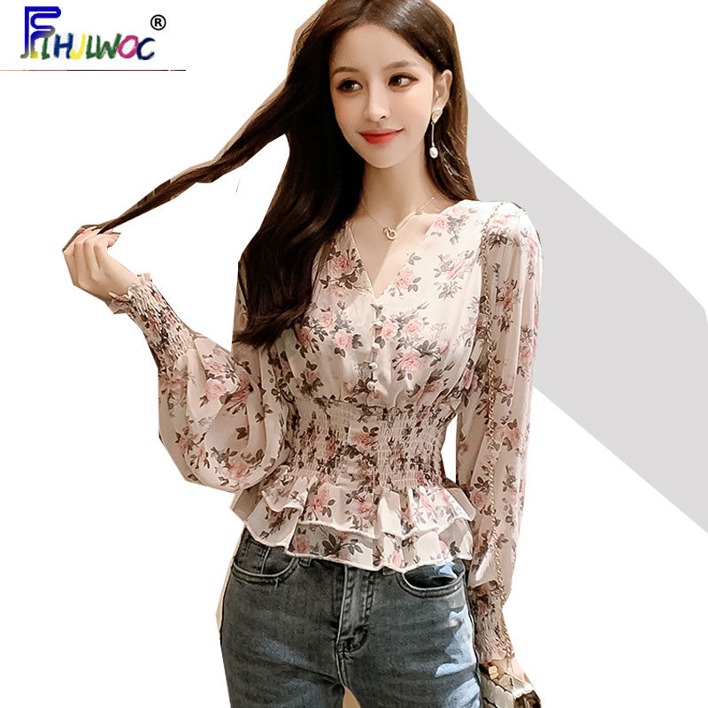 2020 Spring Summer Cute Tops Women Long Sleeve Korean Japanese V Neck Slim Waist Ruffled Peplum Floral Chiffon Shirts Blouse 120