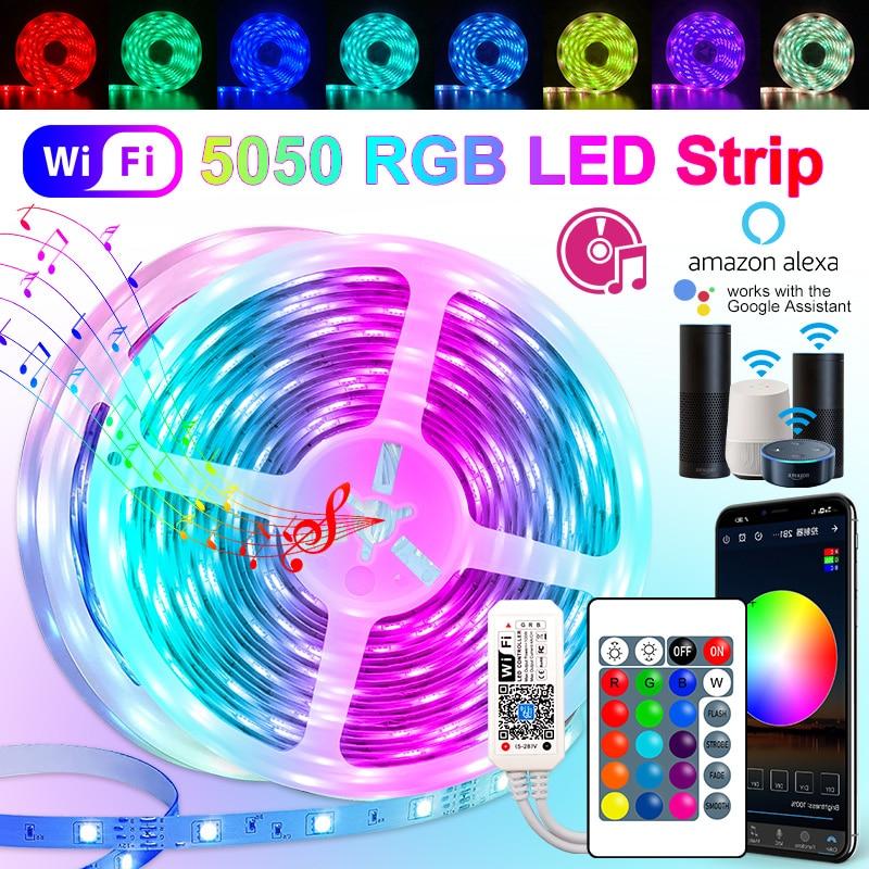 30M 25M WIFI RGB LED Strip Light 2835 10M 5M LED Lights SMD 5050 rgb Leds tape diode ribbon Flexible Wateproof DC12V Adapter