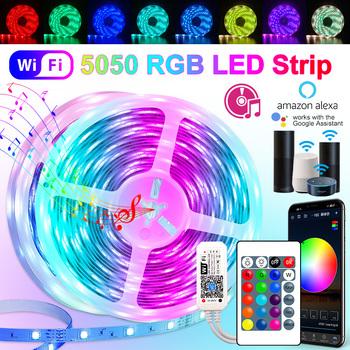 30M 25M WIFI listwy RGB LED światła 2835 10M 5M światła LED SMD 5050 ledy rgb taśmy taśma z diodami elastyczny wodoodporny Adapter tanie i dobre opinie LPILY CN (pochodzenie) ROHS SALON 5000 PRZEŁĄCZNIK 2 88 w m Edison 12 v Smd5050 DC 12V Power Adapter No CR2025 battery