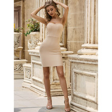 2020 frauen Mode Sexy Liebsten Nude Verband Kleid Designer Mini Abend Promi Party Kleid Vestido(China)