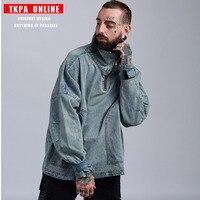 Denim Jean Sweatshirt Men's High collar Wash Water Denim Jacket OVERSIZE Skateboard Loose Shoulder Retro Sweatshirt US Size SA 8