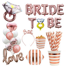 Rose Gold Bride To Be Letter Balloon Team Bride Veil Sash Headband Bridal Shower Bachelorette Party Wedding Decoration Supplies