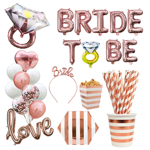 Rose Gold Bride To Be Letter Balloon Team Bride Veil Sash Headband Bridal Shower Bachelorette Party Wedding Decoration Supplies(China)