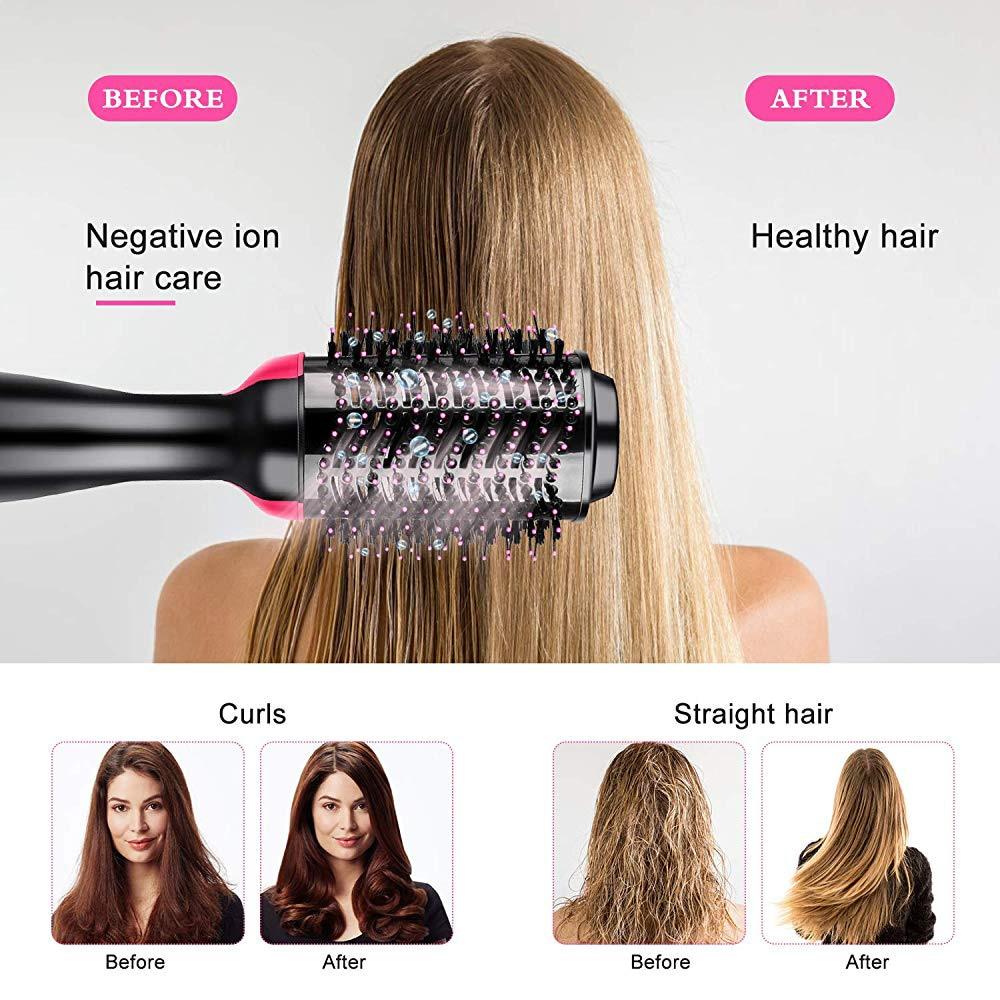 One Step Hair Blower Hair Straightener Curling Volumizer Brush Dryer Straightener Curler Styling Tangle Straightening Comb 3