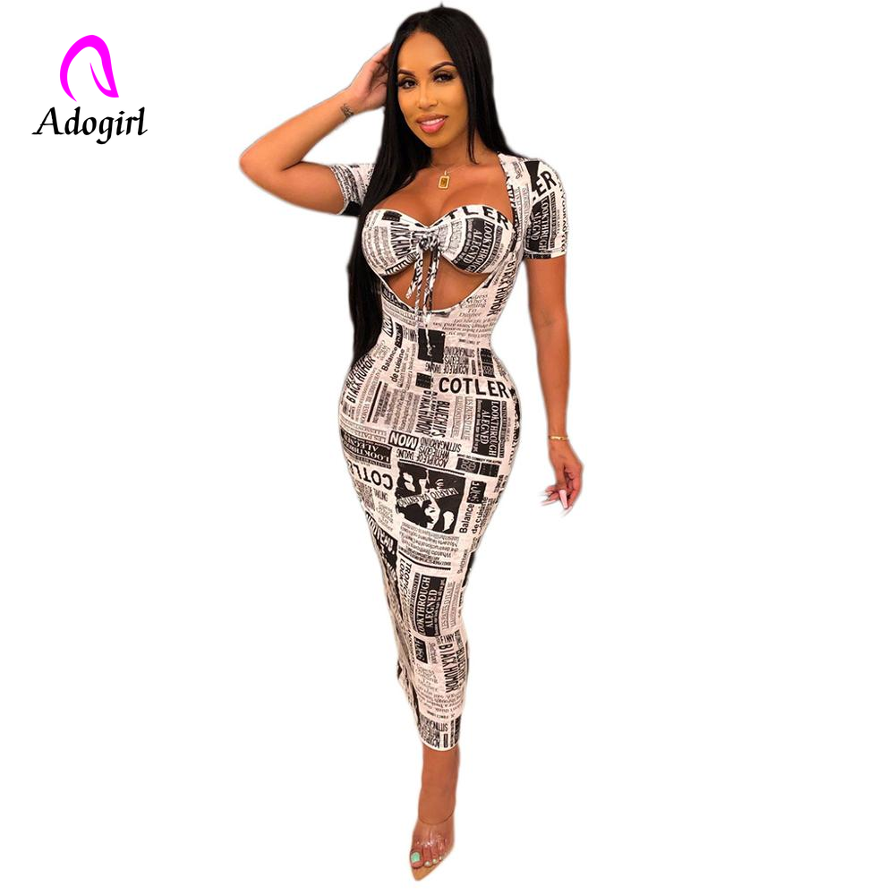Adogirl Newspaper Print Women Casual Dress Halter Neck Short Sleeve Bodycon Long Maxi Dresses Female Night Club Party Outfits