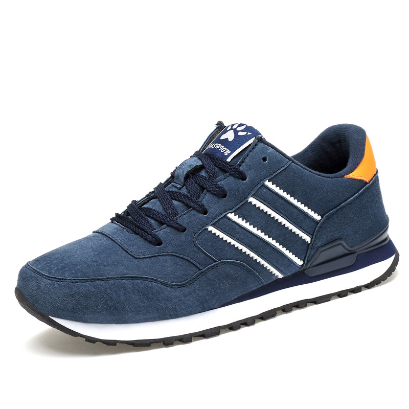 Breathable Running Shoes For Men Outdoor Walking Sports Shoes Suede Leather Women Sneakers Casual Anti-skid Flats Athletic Shoes