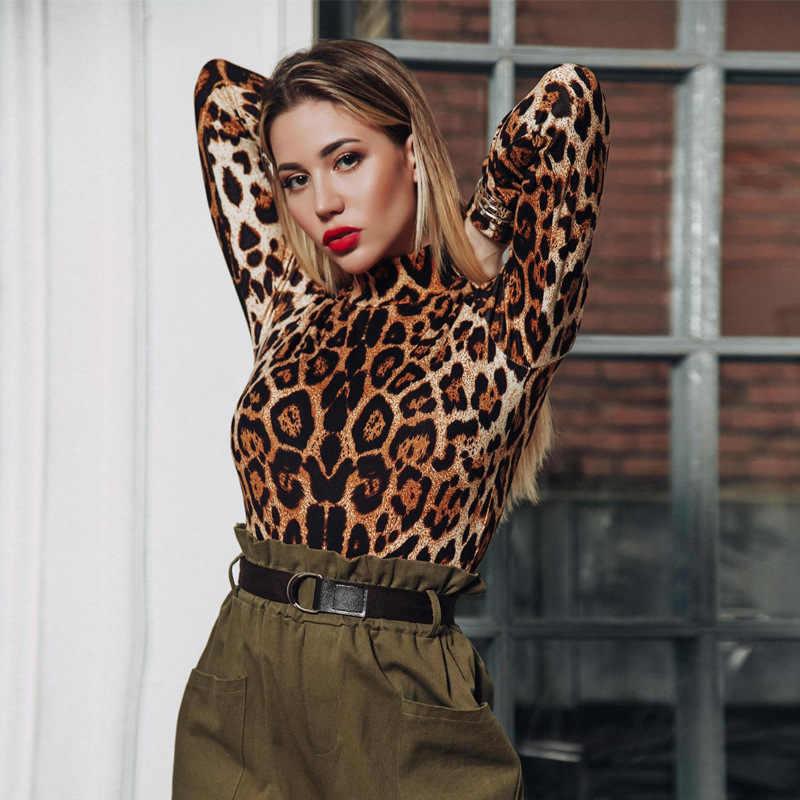 Frauen Body Leopard Print Sexy Ein Stück Combinaison Femme Streetwear 2018 Herbst Winter Club Kleidung Festival Körper