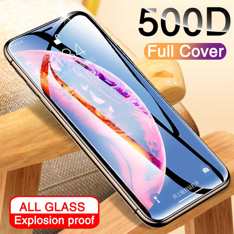 500D Full COVER กระจกนิรภัยสำหรับ iPhone 11 Pro X XR XS MAX iPhone 11 Pro Screen Protector ป้องกันแก้ว iPhone 11