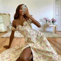 Avrilyaan-Vestido largo sexi con estampado de flores para mujer, vestido de noche con abertura alta, vestido de fiesta con Espalda descubierta, vestido de verano 2020