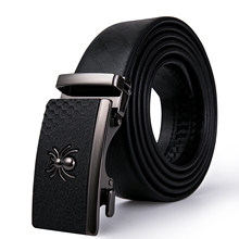 Business Men's Belt Spider Automatic Buckle Black Belt Luxur