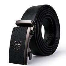 Business Men's Belt Spider Automatic Buckle Black Belt Luxury Brand Male Genuine Leather Strap Waistband Cummerbunds DiBanGu
