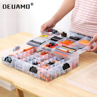 Blocos de construção lego brinquedos mão grande capacidade crianças caixa de armazenamento de plástico transparente organizador pode ajustar o espaço de armazenamento