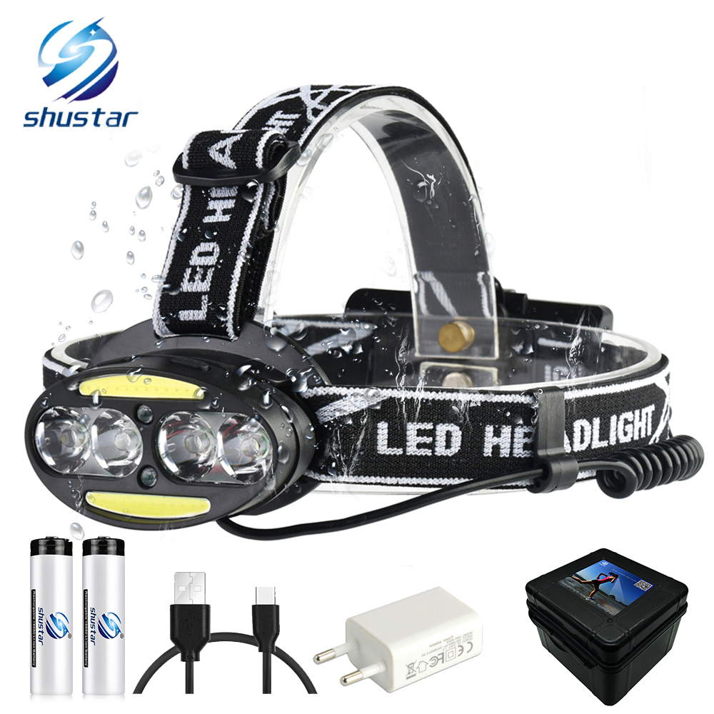 Super bright LED headlamp 4 x T6   2 x COB   2 x Red LED waterproof led headlight 7 lighting modes with batteries charger