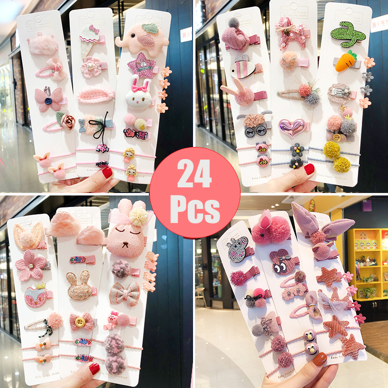 10/24Pcs/Set New Children Cute Cartoon Flower Hairpins Barrettes Girls Lovely Colors Hair Clips Kids Baby Sweet Hair Accessories title=
