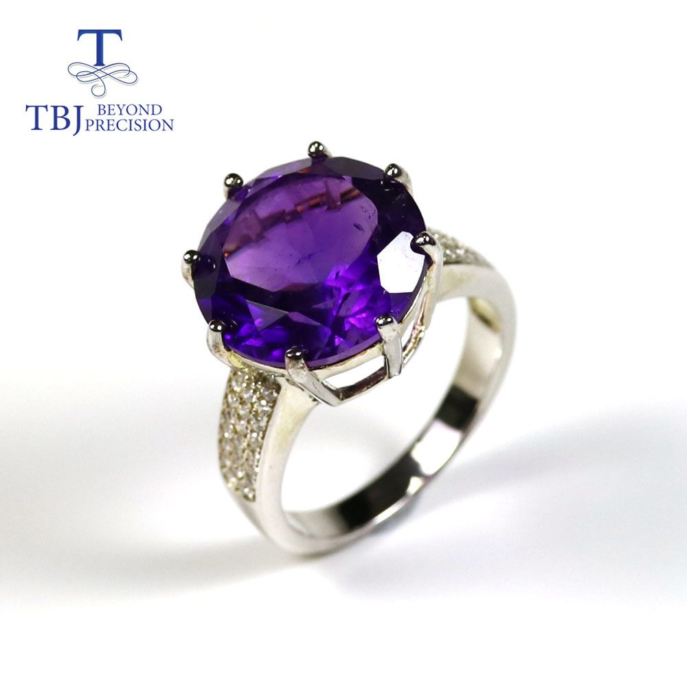 Natural African Gemstone Big Size Round 15mm Amethyst Ring Jewelry Solid 925 Sterling Silver Fine Jewelry For Women New Style